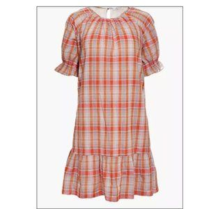 MADEWELL Dress Ruffle-Sleeve Plaid Mini L